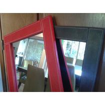 Marco Con Espejo Forrado En Eco Cuero Con Costuras 130x45