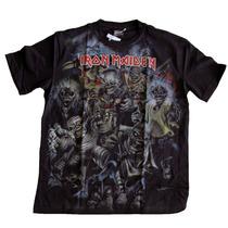 Camiseta Premium Iron Maiden Caveiras Stamp