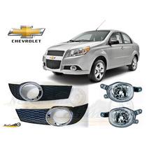 Faros Antiniebla Con Biseles Cromo Chevrolet Aveo 2012 2015