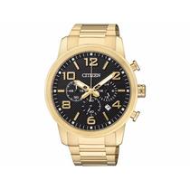 Relógio Masculino Citzen Todo Dourado Cronógrafo Caixa Média