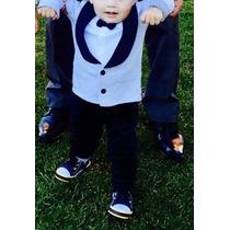 Pañalero Bebe Simula Traje Esmoquin Saco Moño Y Pantalon 24