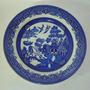 Platos Azules Inglés De 26 Cm. Y Bavaria Folia Oro, 11,5 Cm.