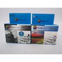 Combo Cartuchos 901 Genericos Printline Xl Negro Y Color