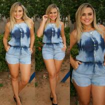 Macaquinho Jeans Feminino Com P M G Maravilhoso!