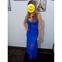 Vestido Longuete Festa- Renda Azul -import - Pronta Entrega