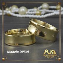 Alianças Ouro 12k 7mm Com Pedras-frete Grát- 12xs/jur Dpx05