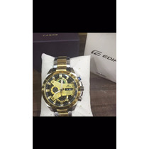 Relógio Casio Edifice Prata E Dourado Fundo Preto