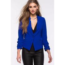 Saco Blazer Vestir Azul Amwricano Importado Tela S Pedido