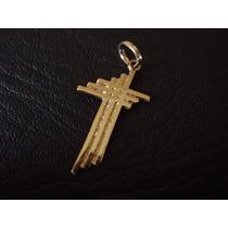 Dije 3 Cruces En Chapa De Oro