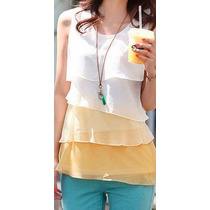 Oix Closet Top Blusa De Gasa Color Blanco/amarillo Verano