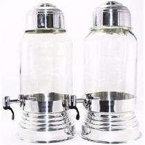 Kit Com 4 Suqueira Vidro Dispenser Aluminio 3 Litros Linda