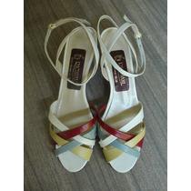 Sandalias Chatitas De Cuero Blancas Con Tiras De Color N.37