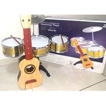 Kit Mini Bateria Musical Infantil + Mini Violão Brinquedo