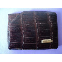 Antigua Billetera De Cuero De Reptil Con Aplique De Oro 18 K