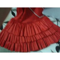 Vestido Para Niña Fiesta Corto Rojo Olanes