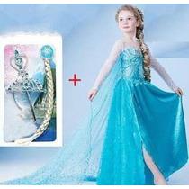 Fantasia Vestido Frozen Elsa Ou Ana Com Acessórios Kit