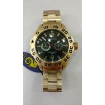 Relógio Atlantis Original Dourado Estilo Invicta