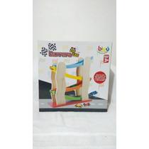 Pista De Carreras En Zig Zag De Madera - Carros Multicolor