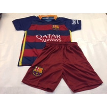 Conjunto Chicos Barcelona Messi Escudos Bordados