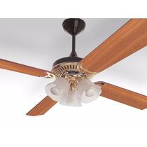 Ventilador De Techo Dorado/marron/madera Lumer 604
