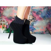Sapato Salto Alto Bota Brilho Preta Glitter Exclusiva Linda