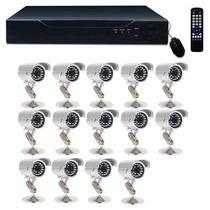 Kit Cftv Dvr 16 Ch + 14 Câmeras Infravermelho Ccd Sony C2018