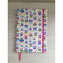 Caderno Argolado G Coruja Rosa - 10 Matérias