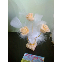 Combo 40 Souvenirs Y 20centros De Mesa Rosas Con Plumas