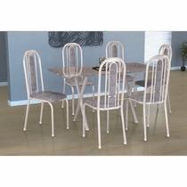 Conjunto De Mesa Fabone Athenas Com 6 Cadeiras