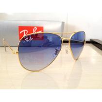 Óculos De Sol Aviador 3026 Dourado Azul Degradê Frete Grátis