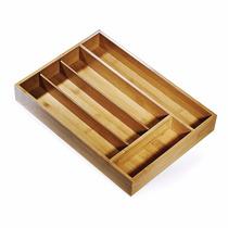 Porta Talheres Em Bambu 5 Divisórias Welf