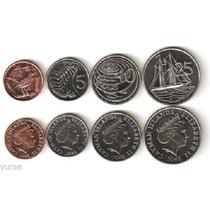 04 Moedas Da Ilha Cayman 1, 5, 10, 25 Cents 2008 Fc