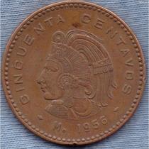 Mexico 50 Centavos 1956 * Esfinge De Cuauhtemoc * Enorme *