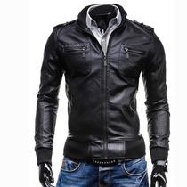 Chamarra Piel Rockera Hombre Motociclista Sintética Slim Fit