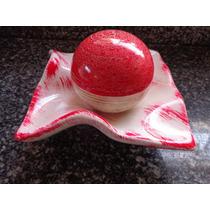 Prato Lenço Decorativo Cerâmica C/ Bola Linda Peça Decoração