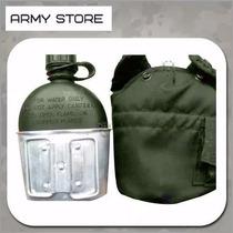 Cantimplora Anfora Militar Con Funda Y Vaso De Aluminio