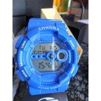 Relógio Militar Masculino Shhors Shock Digital Led 3atm Azul