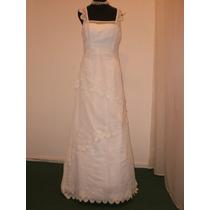 Vestido De Novia, Blanco , Tul Bordado Talle 42 *