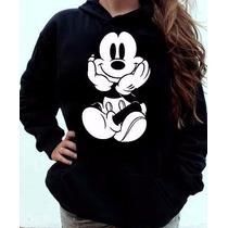 Moletom Mickey Blusa Feminina Canguru Capuz Bolso Promoção