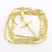 Corrente Masculina 60cm 2mm Cartier Cruz Folheada Ouro