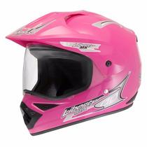 Capacete Motocross Liberty Mx Vision Rosa 58 C/ Viseira