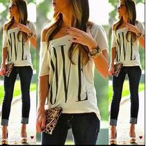 T Shirt Das Mulheres Do Verão 2016 Ombro Caido