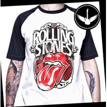 Camiseta Raglan Rolling Stones Ou Baby Look Rock Banda