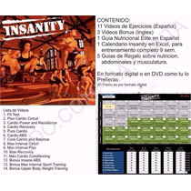 Insanity Workout, Calendario, Guia Nutricional + Bono + 2000