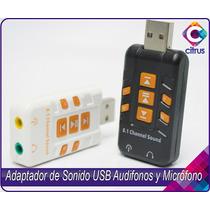 Adaptador De Sonido Usb Audifono Y Microfono 8.1, 7.1, 5.1