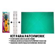 Kit Patchwork Base De Corte + Cortador Circular + Régua
