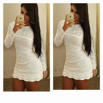 Vestido Crochê Tricot Renda Blogueiras Roupas Femininas 2016