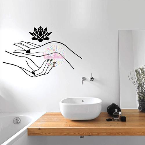 vinilos decorativos pared manos flor de loto spa bao with vinilos decorativos paredes