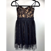 Vestido Dama Marca Finn&clover, Color Beige Con Encaje Negro