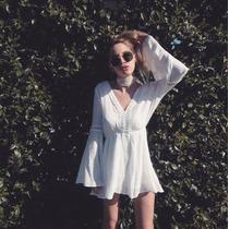 Vestido Blanco/ Natural Estilo Boho, Hippie Chic Bambula